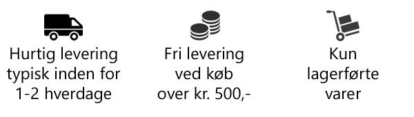 Hurtig levering 1-2 hverdage, fri levering ved køb over kr. 500,-, kun lagerførte varer