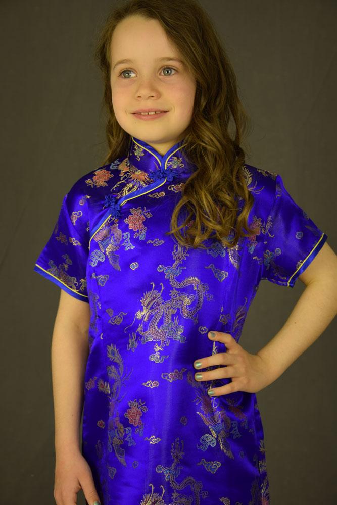 4d7847584f87 Kinesisk kjole - Blå -