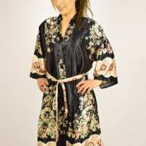 Satin kimono - sort med mønter