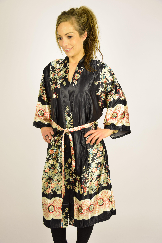 Kimono Kimono Sort Sort Med Mønster Med Kimono Mønster Med Sort AB5grAqxw